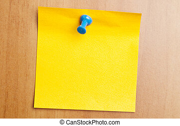 Empty yellow post it - Empty orange post it on wooden wall