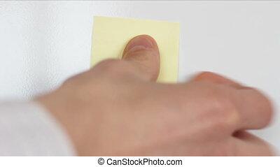 Empty Yellow Sticker on Fridge 1