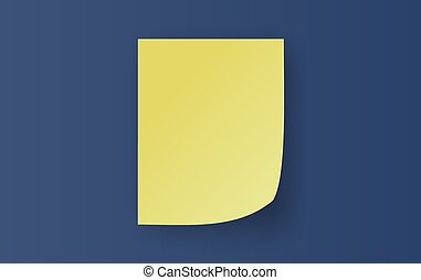 Empty yellow Sticky Notes paper sheet with curled corner. Realistic note template of small of soft shadows isolated on blue dark background. Ready for your message, text. paper art, craft. vector10