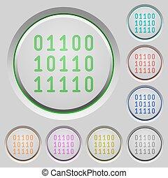 empujón, código binario, botones