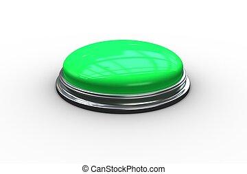 empujón, digital generado, verde, botón