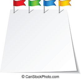 empujón, vector, banderas, alfiler