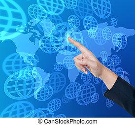 empujar, botón, global, mano, tacto, interfaz, pantalla
