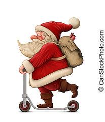 empujar scooter, claus, santa