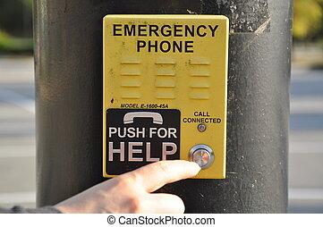 empujar, teléfono de emergencia, para, ayuda