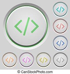 empuje botones, código, programación