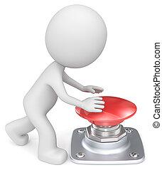 empurrão, button., vermelho