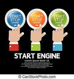 empurrão, motor, start-stop, button., mão
