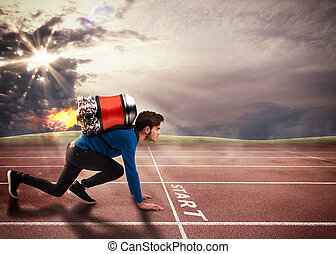 empurrão, para, superar, obstáculos
