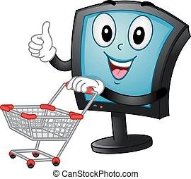 empurrão, shopping, monitor, carreta, mascote