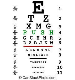 empurrão, teste, mensagem, óptico, olho