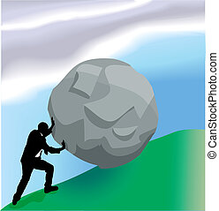 empurrar, bolder, cima colina, conceito negócio, ilustração