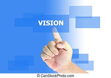 empurrar, mão, visão, botão