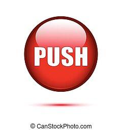 empurre botão, branca, lustroso, vermelho