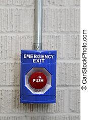 empurre botão, saída, emergência
