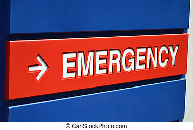 Emrgency Sign - A blue and red Emergency sign outside a...