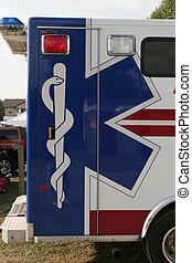 EMS symbol on the back/side of an ambulance.