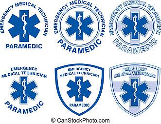 emt, medizin, entwürfe, sanitäter