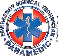 emt, paramédico, médico, diseño, cruz