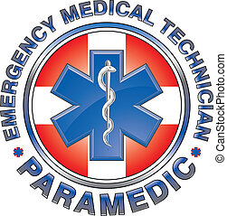 Illustration of an EMT or paramedic design with star of life medical symbol and first aid cross.