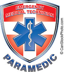 Illustration of an EMT or paramedic design with star of life medical symbol and first aid cross on a shield.