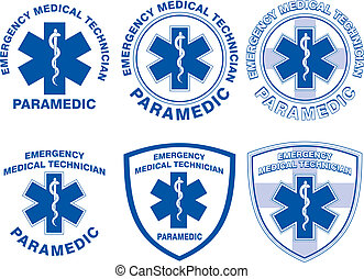 EMT Paramedic Medical Designs - Illustration of six EMT or...