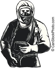 Scratchboard style illustration of an EMT, Emergency Medical Technician, firefighter, Paramedic, researcher, Worker Wearing Hazmat Suit done on scraperboard on isolated background.