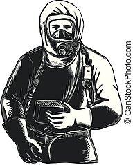 EMT Wearing Hazmat Suit Scratchboard - Scratchboard style ...
