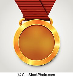 Emty award gold medal with red ribbon.