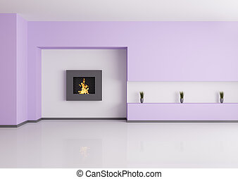 Emty interior with fireplace 3d render - Modern empty...