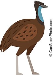 Emu cartoon bird icon isolated on white background, vector...