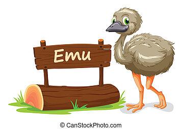 emu, e, nomeie prato