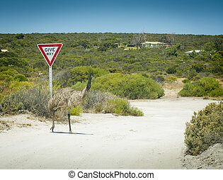 Emu Give Way Sign