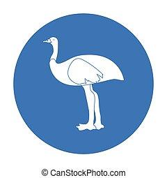 Emu icon in black style isolated on white background....