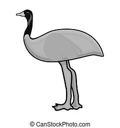 Emu icon in monochrome style isolated on white background. Australia symbol stock bitmap,raster illustration.