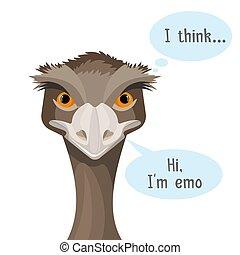Emu isolated on white background with speech bubbles I...