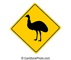 emu, señal de peligro