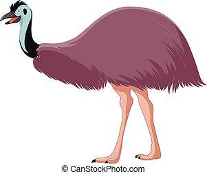 emu, sonriente, caricatura