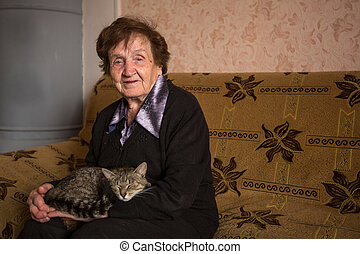 en, äldre kvinna, med, cat.