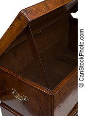 en, åbn, antik, af træ, trunk, eller, brystkassen