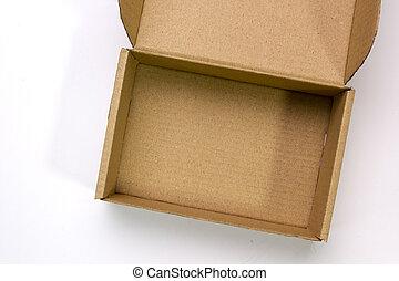 en, öppna, kartong kasse