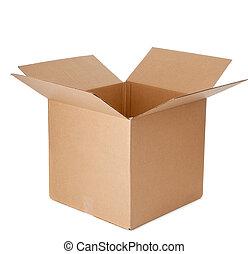 en, öppna, tom, kartong kasse