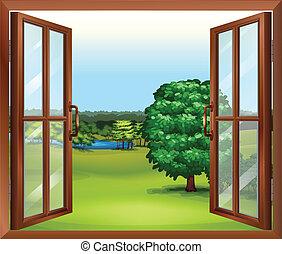 en, öppna, trä, fönster