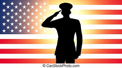 en, amerikaner, soldat, saluting