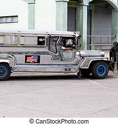 en, asia, philipphines, el, típico, autobús