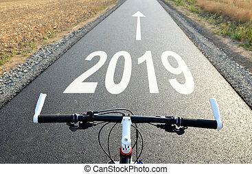 en avant!, à, les, nouvel an, 2019.