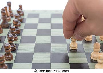 en avant!, blanc, en mouvement, échecs, pion
