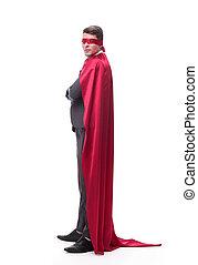 en avant!, confiant, homme affaires, superhero, côté, vue., regarder