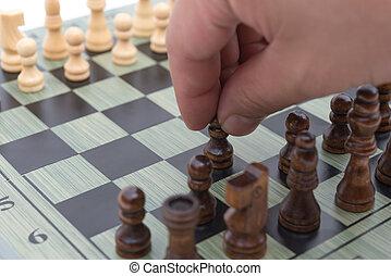 en avant!, noir, en mouvement, échecs, pion