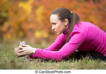 en avant!, yoga:, assis, yoga, automne, pose, coude